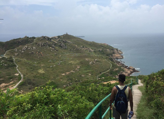Sajan hiking in Hong Kong